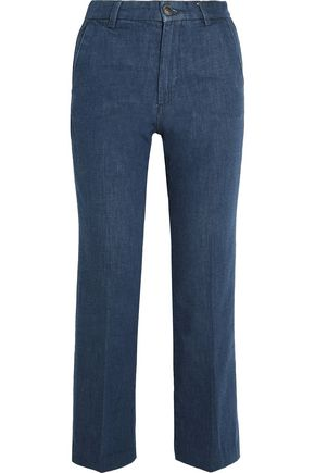M.I.H JEANS Coler cropped embroidered high-rise flared jeans