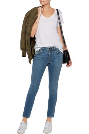 HELMUT LANG Distressed high-rise skinny jeans