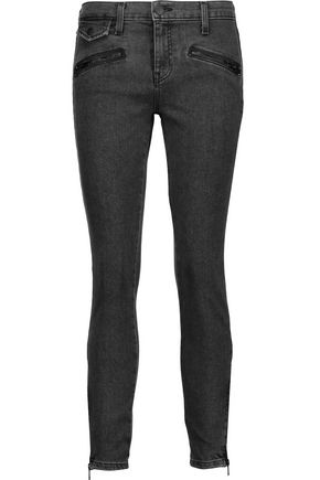 CURRENT/ELLIOTT The Zip Moto mid-rise skinny jeans