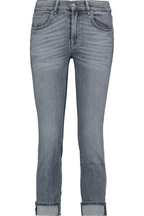 7 FOR ALL MANKIND Mid-rise cropped whiskered skinny jeans