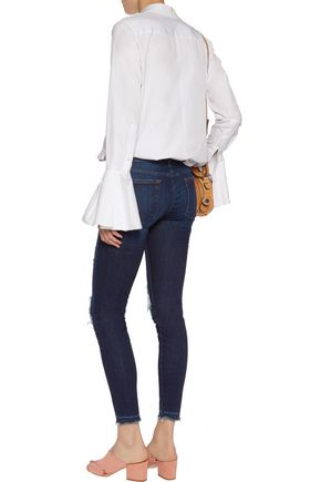 7 FOR ALL MANKIND The Skinny Cropped low-rise distressed skinny jeans