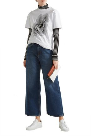 M.I.H JEANS Caron embroidered cropped mid-rise wide-leg jeans