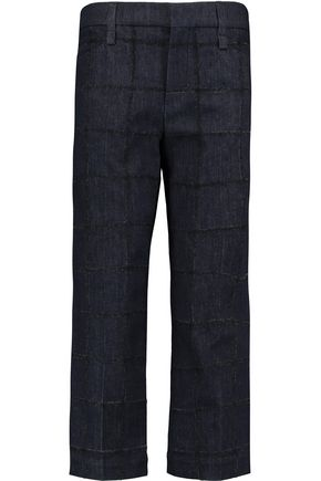 BRUNELLO CUCINELLI Mid-rise cropped checked bouclé wide-leg jeans