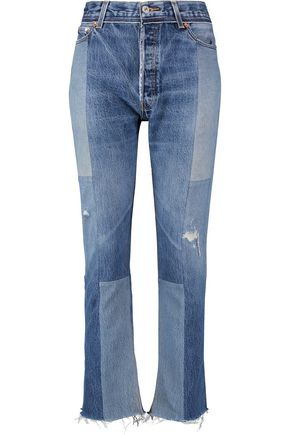 RE/DONE High-rise patchwork bootcut jeans