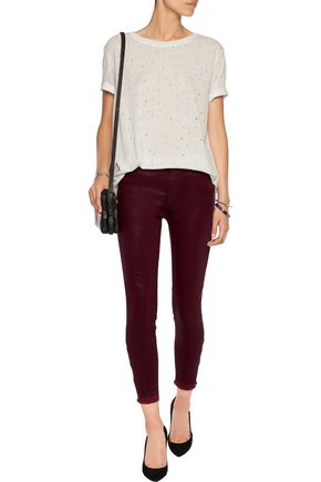J BRAND Alana  high-rise cropped coated skinny jeans