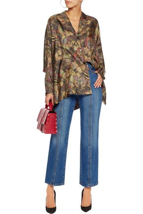 VALENTINO High-rise faded straight-leg jeans