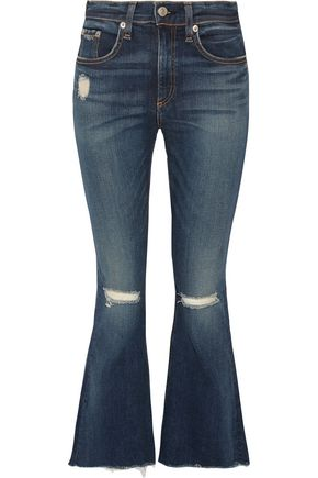 RAG & BONE Cropped distressed mid-rise flared jeans