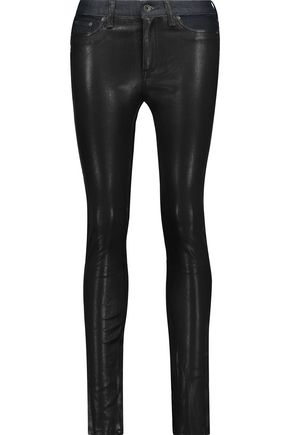 RAG & BONE Hyde low-rise leather-paneled skinny jeans