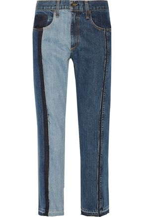 RAG & BONE Two-tone cropped boyfriend jeans