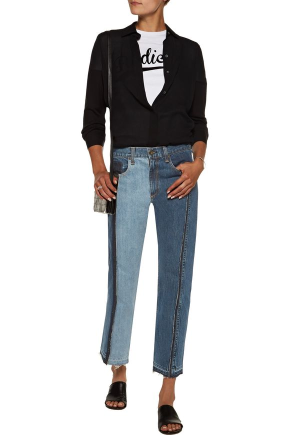 Two-tone cropped boyfriend jeans | RAG & BONE | Sale up to 70% off | THE  OUTNET