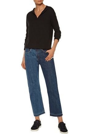 RAG & BONE Two-tone cropped mid-rise straight-leg jeans