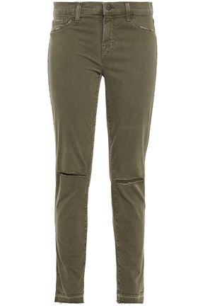 J BRAND 811 distressed mid-rise skinny jeans