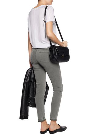 J BRAND Frayed mid-rise skinny jeans