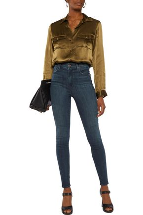 J BRAND Distressed cotton-blend high-rise skinny jeans