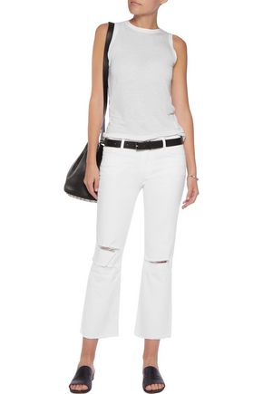 J BRAND Selena cropped distressed mid-rise straight-leg jeans