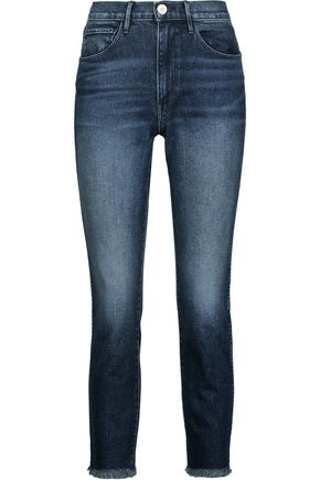 3x1 W3 distressed high-rise slim-leg jeans