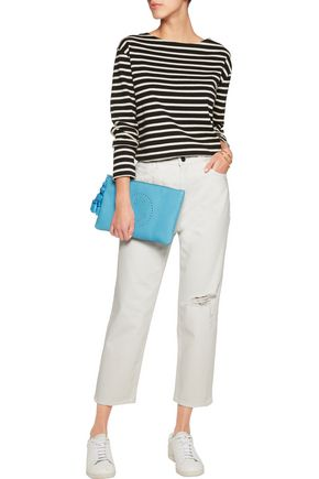 M.I.H JEANS Cropped striped mid-rise straight-leg jeans
