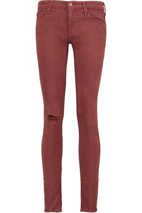 MOTHER The Looker distressed cotton-blend twill skinny pants