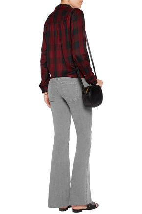 MOTHER The Weekender frayed mid-rise flared jeans