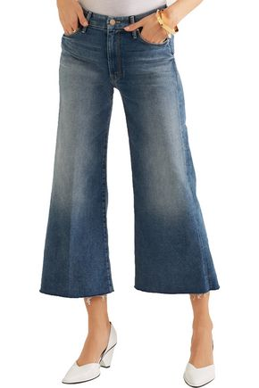 MOTHER The Roller cropped mid-rise wide-leg jeans