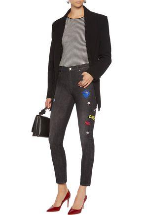 MIRA MIKATI High-rise appliquéd skinny jeans