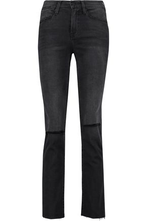 FRAME Le High distressed high-rise bootcut jeans