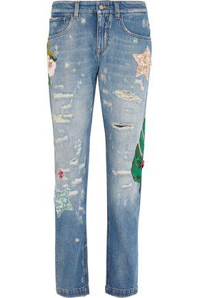 DOLCE & GABBANA Appliquéd high-rise boyfriend jeans