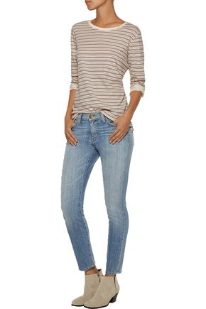 CURRENT/ELLIOTT The Stiletto cropped low-rise distressed skinny jeans