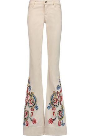 ALICE + OLIVIA Ryley embroidered mid-rise bootcut jeans