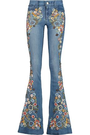 ALICE+OLIVIA Ryley embellished mid-rise flared jeans