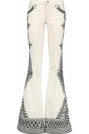 ALICE + OLIVIA Ryley embroidered low-rise flared jeans
