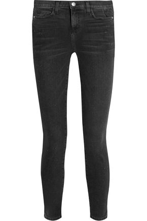 CURRENT/ELLIOTT Distressed mid-rise skinny jeans
