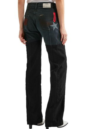 RONALD VAN DER KEMP Appliquéd high-rise flared jeans
