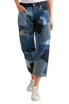 JUNYA WATANABE Cropped leather-trimmed patchwork boyfriend jeans
