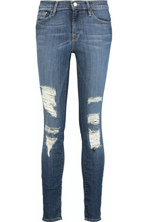 FRAME | Frame Le Skinny De Jeanne Distressed Mid-Rise Jeans | Goxip