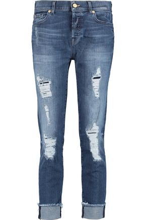 7 FOR ALL MANKIND Josefina mid-rise distressed straight-leg jeans