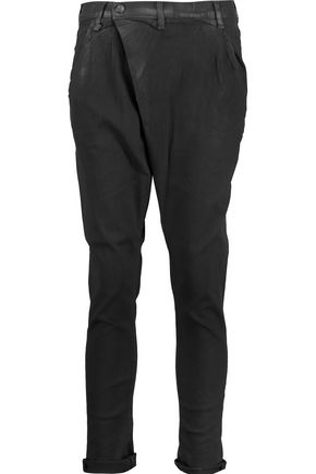 R13 Mid-rise wrap-effect coated tapered jeans