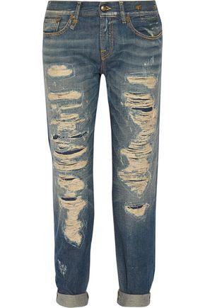 R13 Distressed mid-rise boyfriend jeans