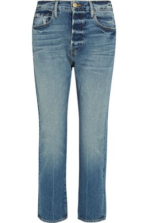 BY FRAME Le Original cropped distressed mid-rise straight-leg jeans