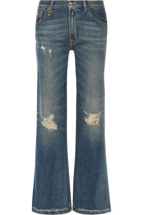 R13 Jane distressed mid-rise flared jeans