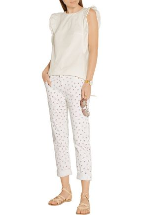 CURRENT/ELLIOTT The Fling floral-print mid-rise slim boyfriend jeans