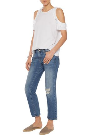 IRIS AND INK Distressed boyfriend jeans