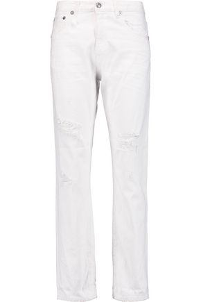 R13 Bowie mid-rise distressed straight-leg jeans