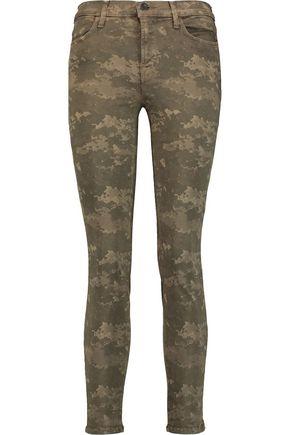 J BRAND Printed mid-rise skinny jeans