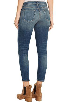J BRAND Distressed low-rise skinny jeans