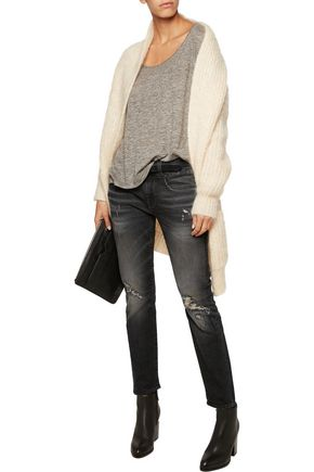 R13 Distressed mid-rise skinny jeans