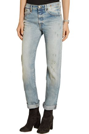R13 Classic distressed mid-rise boyfriend jeans