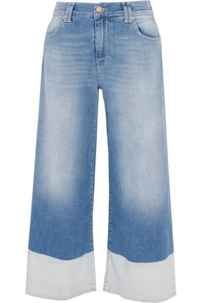 7 FOR ALL MANKIND High-rise cropped paneled wide-leg jeans