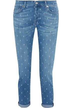 7 FOR ALL MANKIND Josefina printed mid-rise slim-leg jeans