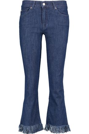 7 FOR ALL MANKIND Mid-rise cropped fringed bootcut jeans